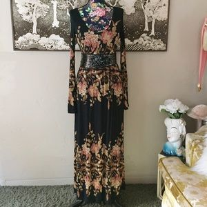 NWT Free People Black Comb Floral Maxi Dress